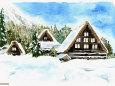 白川郷--雪晴れの朝