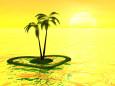 黄金色の空と椰子の島