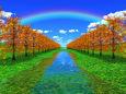 水辺の並木と虹