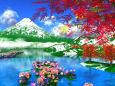 雪と花の山風景