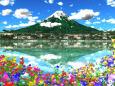 多彩なキキョウと冠雪の山