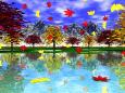 楓と銀杏の葉、舞い散る