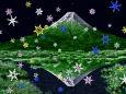 雪の結晶降る山景