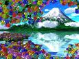 色々な紫陽花と冠雪の山