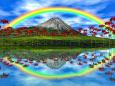 水面に映える彼岸花と虹