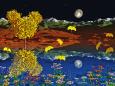 月夜に舞うイチョウの葉