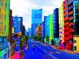 イラスト 絵画 原色の街 壁紙1920x1277 壁紙館