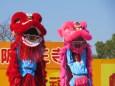 春節祭獅子舞ピンクと赤獅子