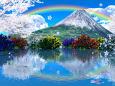 チューリップと桜に虹