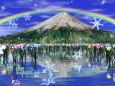 雪の結晶と水仙群落
