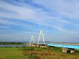 夕方の石狩川河口橋
